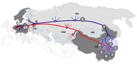A Map Depicting DB Schenker Logistics' Regular Eurasian Rail Services